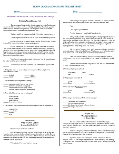 7th grade christmas language arts worksheets