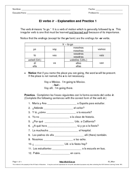 Worksheets Ir A Infinitive Worksheet ir a infinitive worksheet intrepidpath el verbo explanation and practice 1 6th 9th grade infinitive