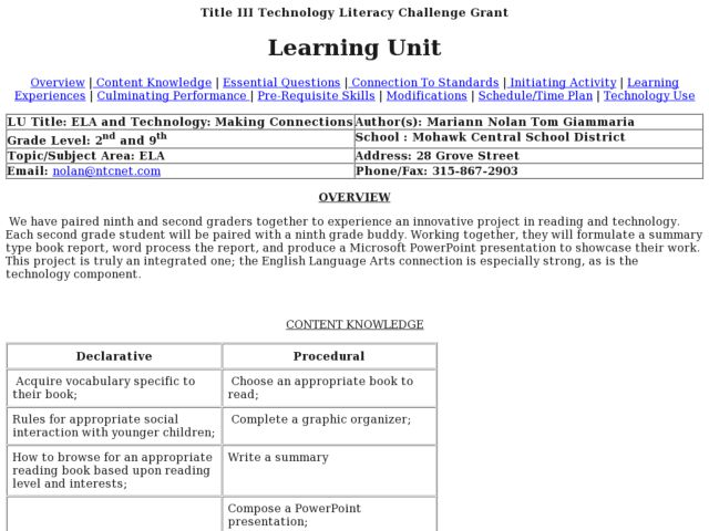 ELA and Technology Making Connections 2nd 10th Grade Lesson – Making Connections Worksheet