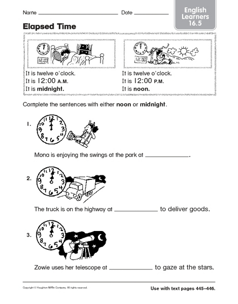 Elapsed Time: Noon or Midnight? 2nd - 3rd Grade Worksheet | Lesson ...