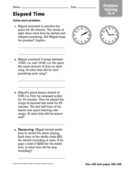 Elapsed time word problems 2nd grade