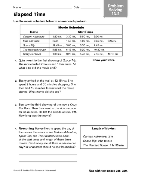 Elapsed Time - Problem Solving 13.2 3rd - 5th Grade Worksheet ...