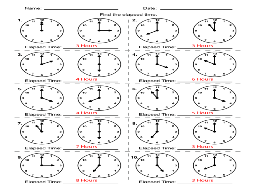 Math Problems with Elapsed Time