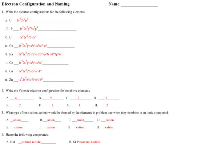Worksheet Electron Configuration Worksheet Answers electron configuration and naming 10th 12th grade worksheet lesson planet