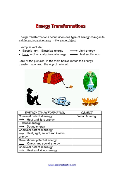 Energy Transformation Worksheets