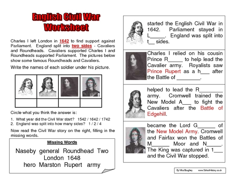 Worksheet Civil War Worksheets english civil war worksheet 6th 8th grade lesson planet