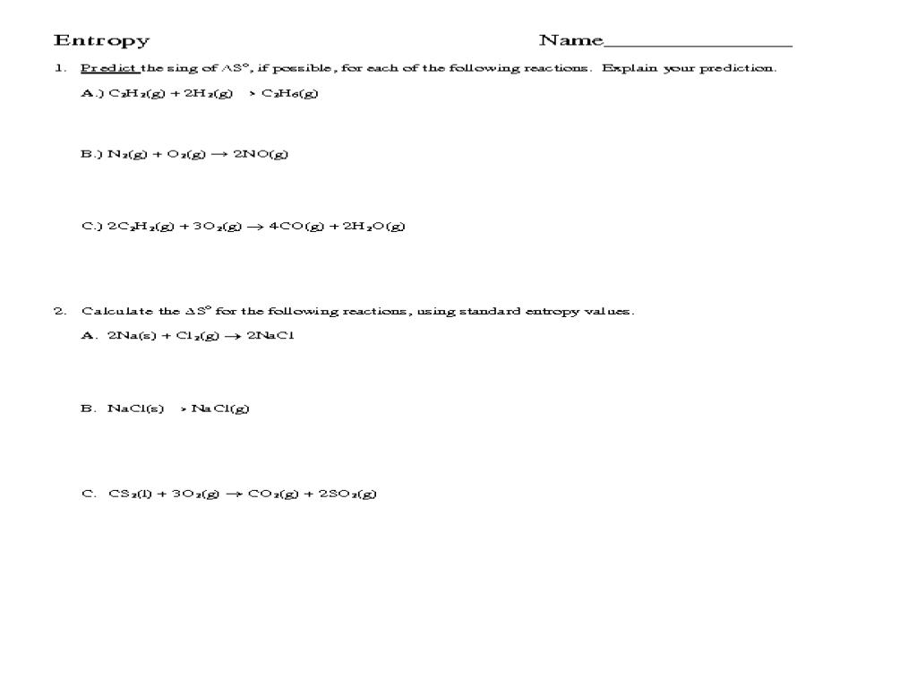 Printables Entropy Worksheet collection of entropy worksheet bloggakuten physics worksheet