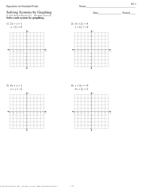 Printables Solving Systems Of Equations By Graphing Worksheet solving systems of equations in standard form by graphing 9th