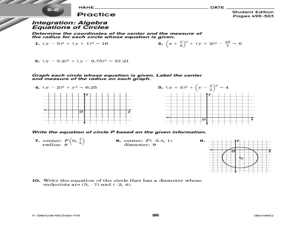 worksheet Writing Equations Of Circles writing equations of circles talkchannels worksheet rups printables worksheets