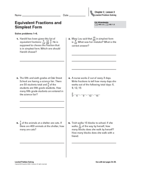 math worksheet : equivalent fractions and simplest form 4th  6th grade worksheet  : Equivalent Fractions And Simplest Form Worksheet