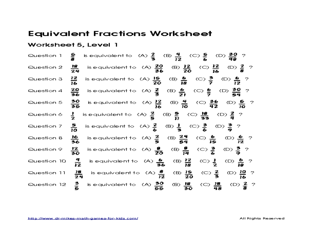 math worksheet : finding equivalent fractions worksheet practice 12 5  worksheets  : Equivalent Fractions Worksheet Grade 5