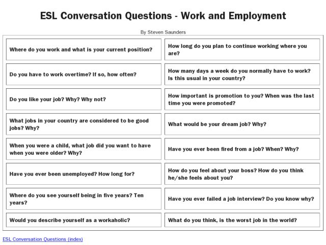 Printables Esl Conversation Worksheets esl resources conversation questions work and employment th grade worksheet lesson planet planet