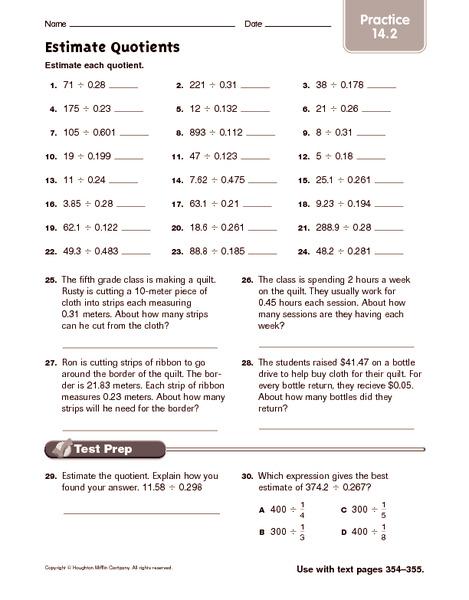 estimating math worksheets 4th grade estimate quotients practice 4th 5th grade worksheet. Black Bedroom Furniture Sets. Home Design Ideas