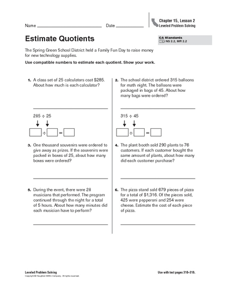 Printables Estimating Quotients Worksheets estimating quotients worksheets printables estimate 5th grade worksheet lesson planet