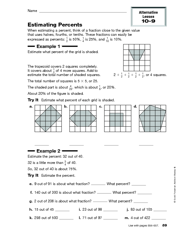 Worksheets For Estimating Percents worksheets for estimating – Percents Worksheets