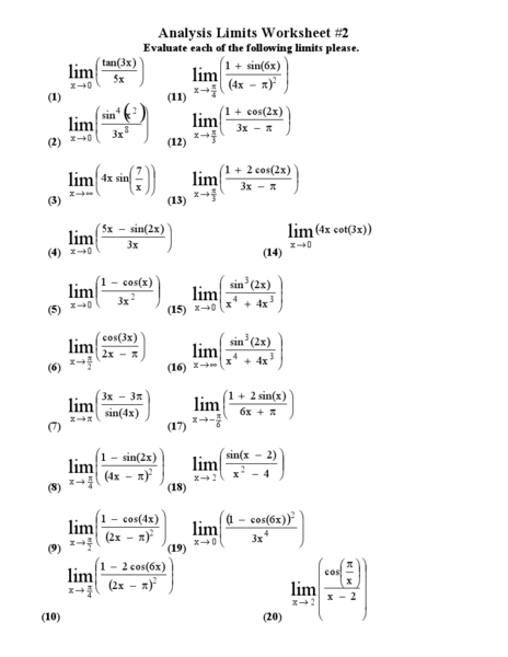 Limits Calculus Worksheet - Delibertad