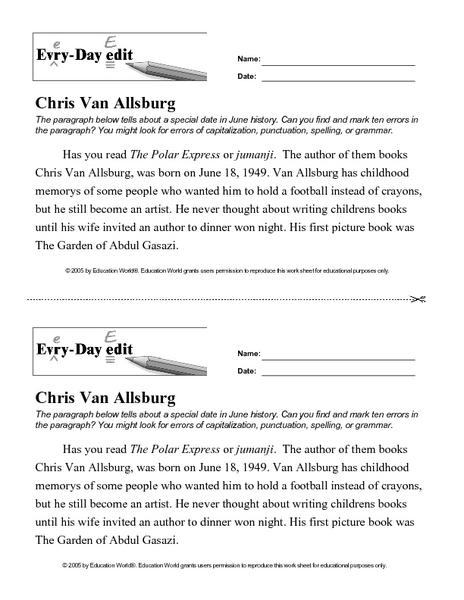 Chris Van Allsburg Lesson Plans & Worksheets Reviewed by Teachers