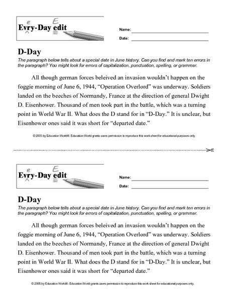 Every Day Edit - D-Day 7th - 8th Grade Worksheet | Lesson Planet