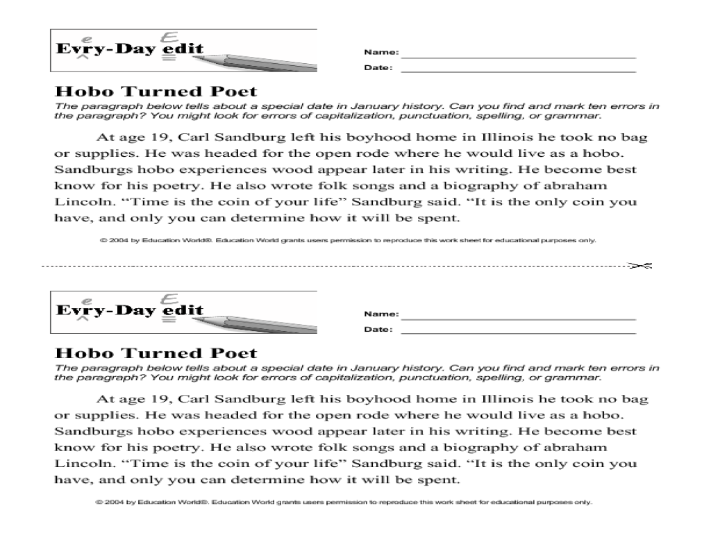 Printables Daily Edit Worksheets every day edit hobo turned poet 8th 11th grade worksheet lesson planet