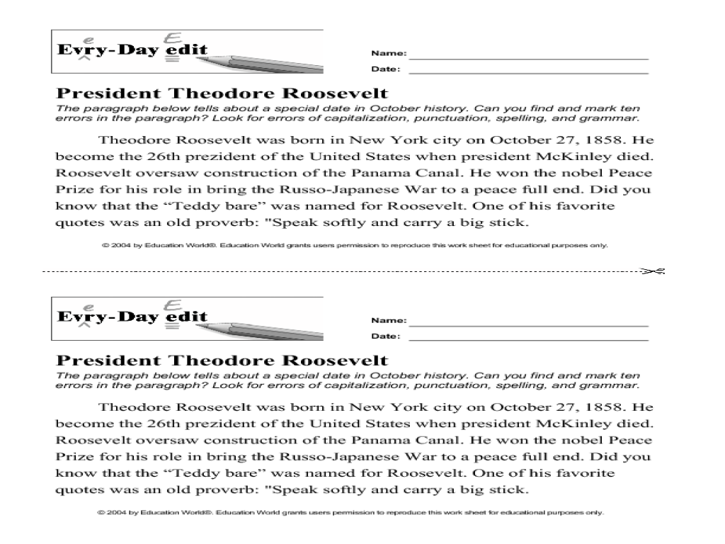 worksheet Roles Of The President Worksheet every day edit president theodore roosevelt 6th 9th grade worksheet lesson planet