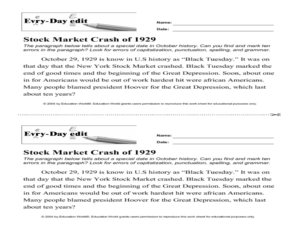 Worksheets For 8th Grade Students : Stock market math worksheets reading the language of