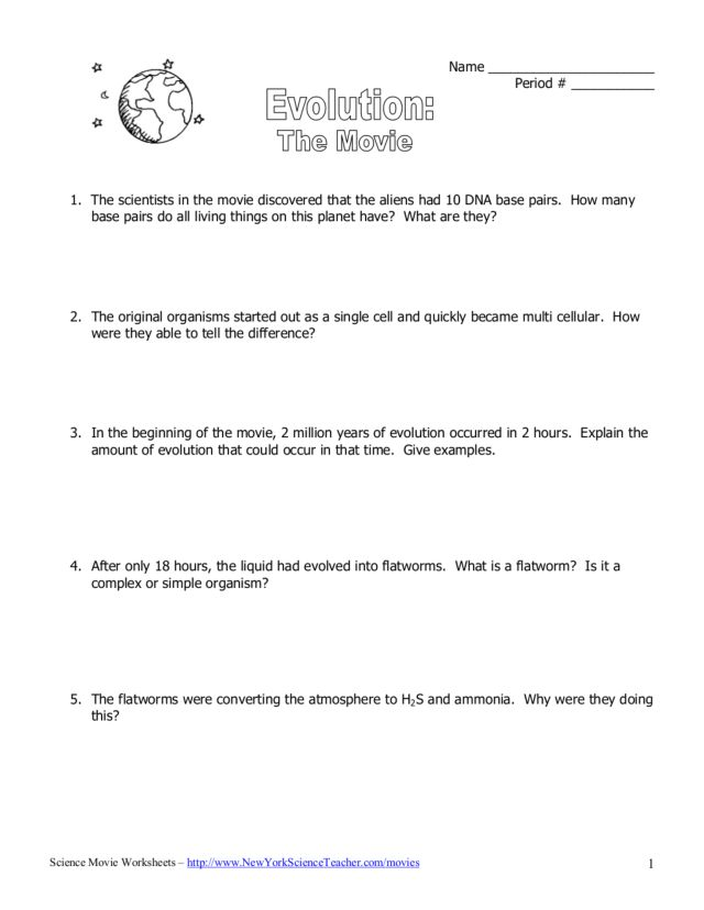 Printables Evolution Worksheet evolution the movie 5th 8th grade worksheet lesson planet