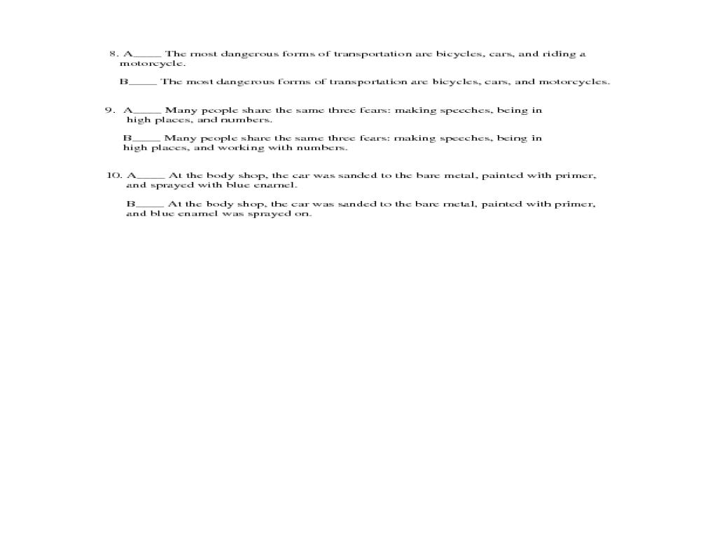 Printables Parallel Structure Worksheet exercise on parallel structure 7th 9th grade worksheet lesson planet