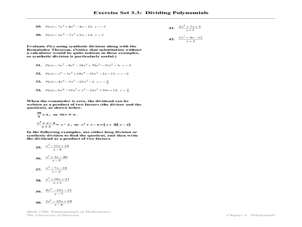 ShowMe - Long and synthetic division worksheet algebra 2