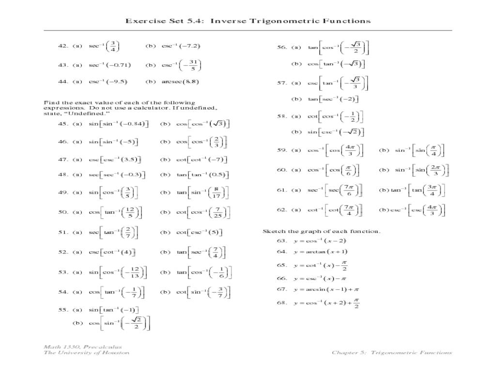 Inverse functions worksheet pdf
