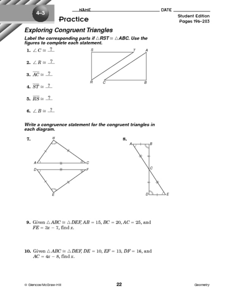 Worksheet Congruent Triangles Worksheet exploring congruent triangles 8th 9th grade worksheet lesson planet