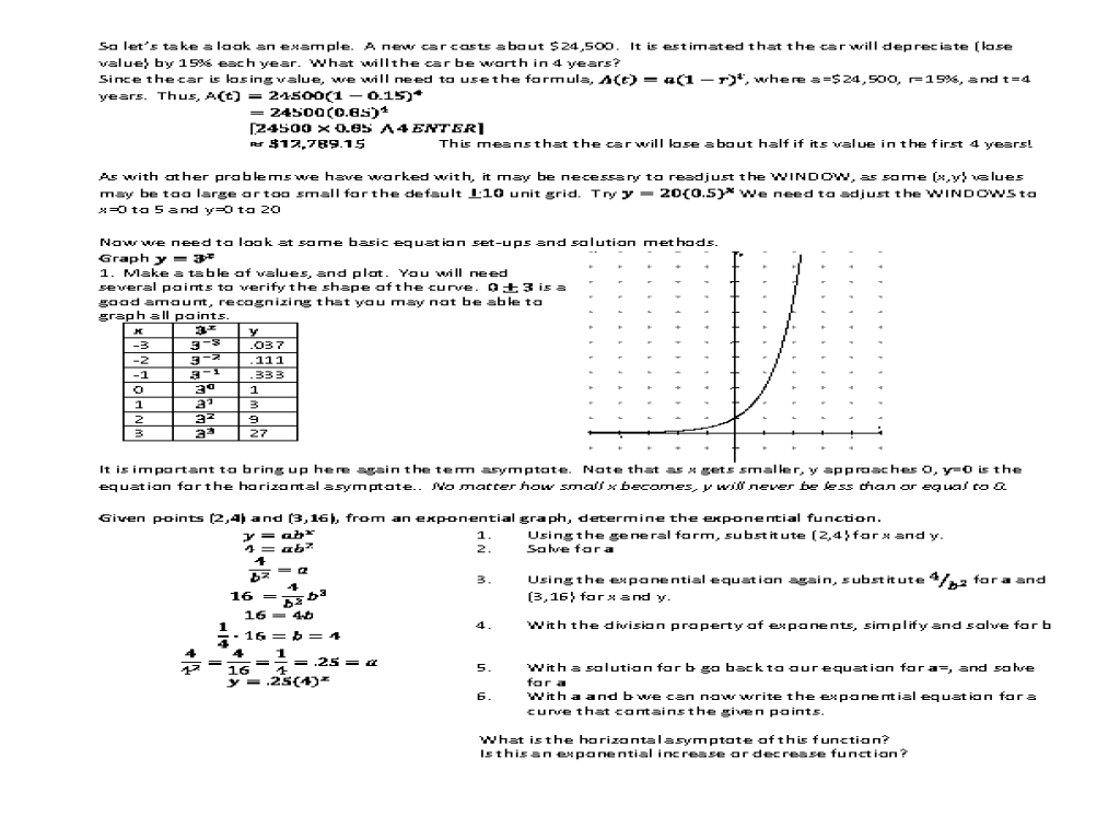 Worksheet Comparing Linear And Exponential Functions