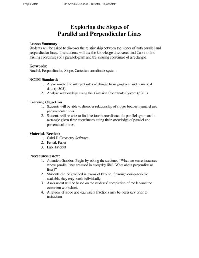 Exploring the Slopes of Parallel and Perpendicular Lines 8th – Slopes of Parallel and Perpendicular Lines Worksheet