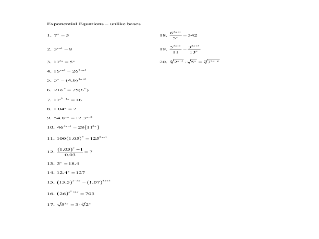 worksheet Worksheet Solving Exponential Equations exponential equations unlike bases 10th 11th grade worksheet lesson planet