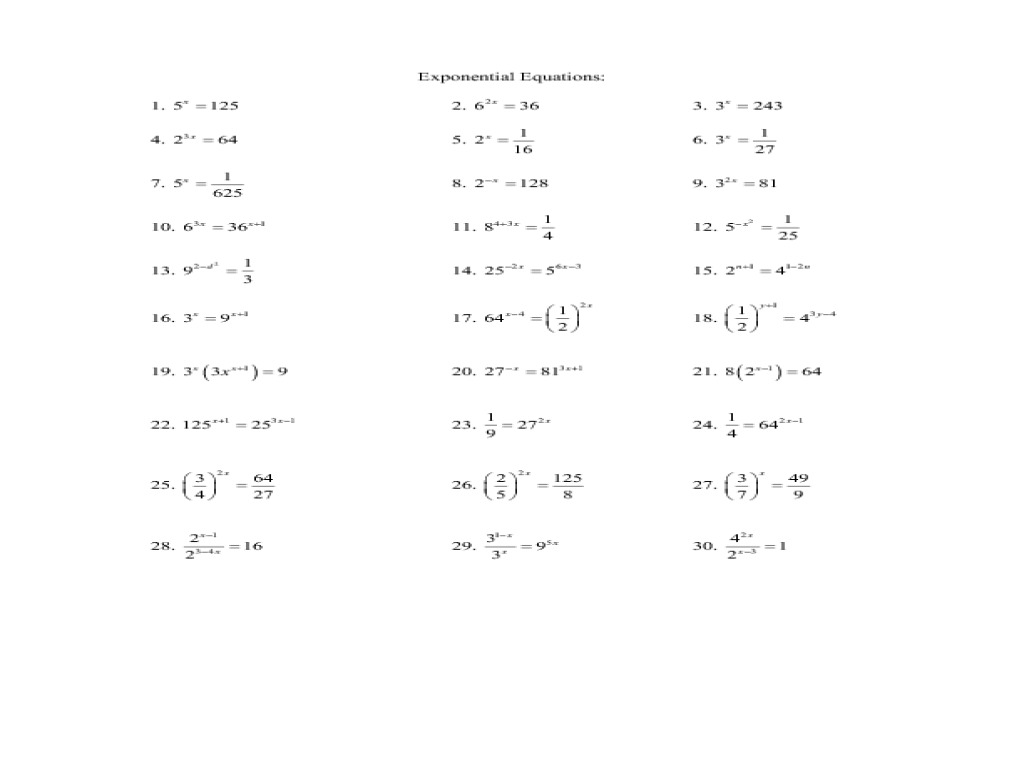 Exponential Equations 9th - 11th Grade Worksheet | Lesson Planet