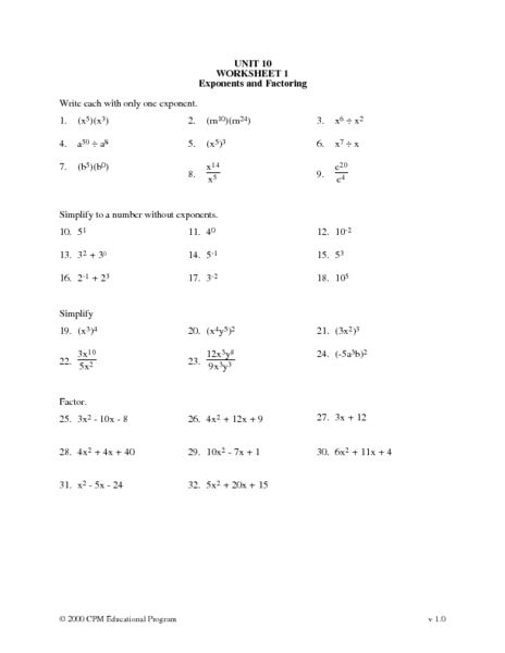 Zero Product Property Worksheet