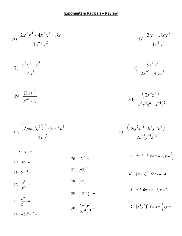 Exponents and Radicals-Review 9th - 11th Grade Worksheet | Lesson ...