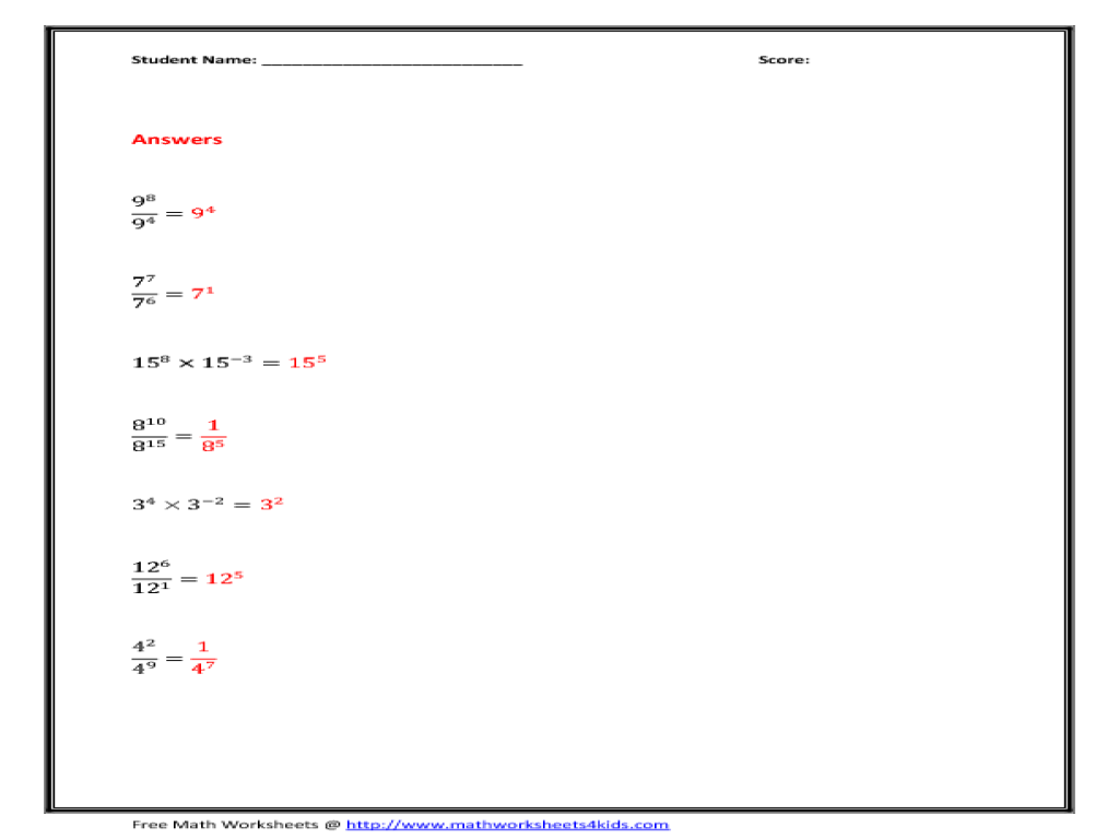 8th Grade Math Exponents Worksheets Davezan – Math Worksheets Exponents