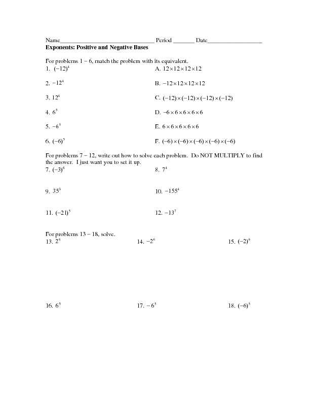 positive and negative exponents worksheet free worksheets library download and print. Black Bedroom Furniture Sets. Home Design Ideas