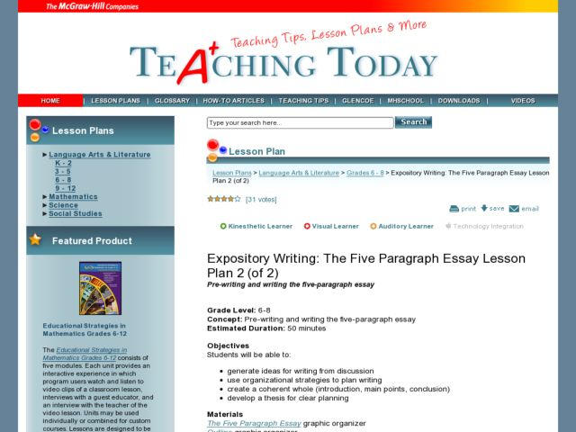 Writing a five paragraph essay lesson plan   ayanlarkereste com