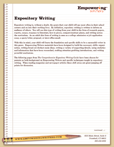 activities for writing an expository essay This study investigated the effect of a socio-cognitive method of teaching writing  ▻ students were taught expository essay genre practices and thinking.