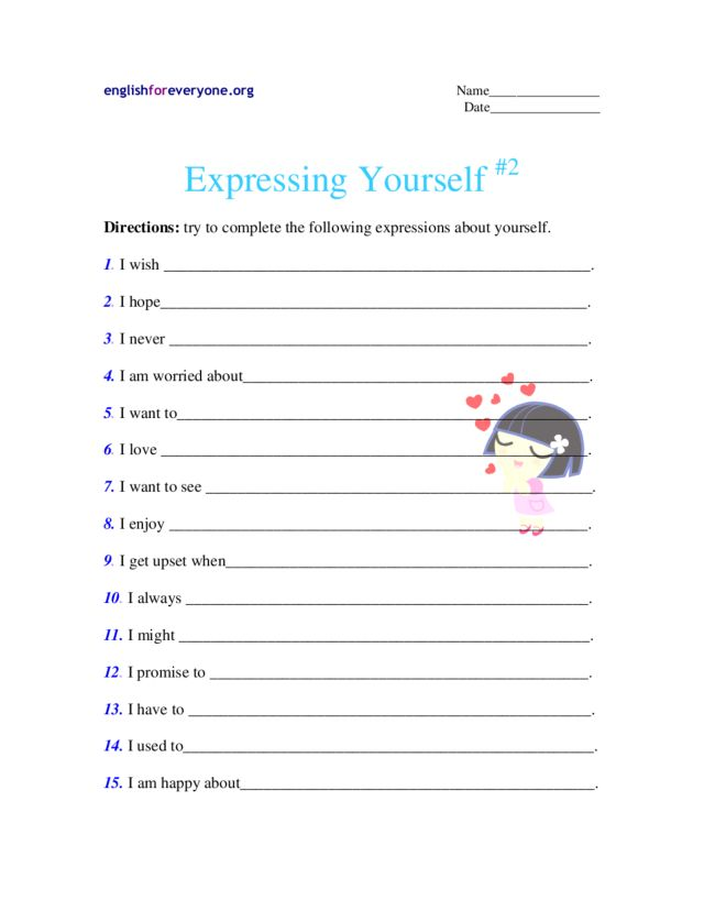 Express Yourself Worksheets Expressing Yourself 2 2nd