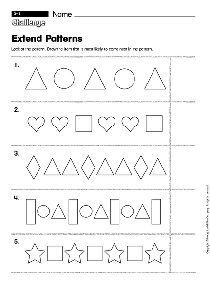Kindergarten Patterning Worksheets  Princess Patterns Worksheet