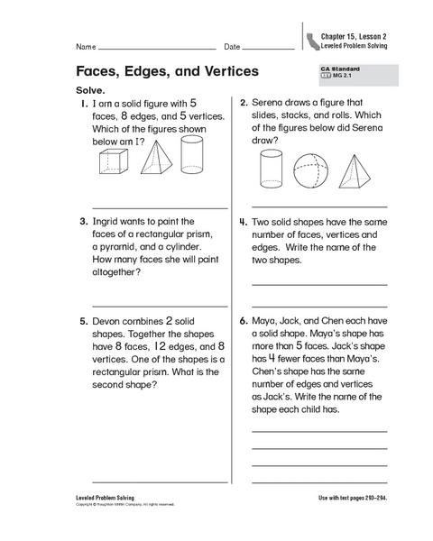 Faces edges vertices worksheet