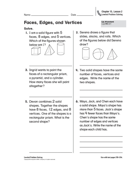Worksheets Faces Edges And Vertices Worksheet faces edges and vertices 2nd 4th grade worksheet lesson planet