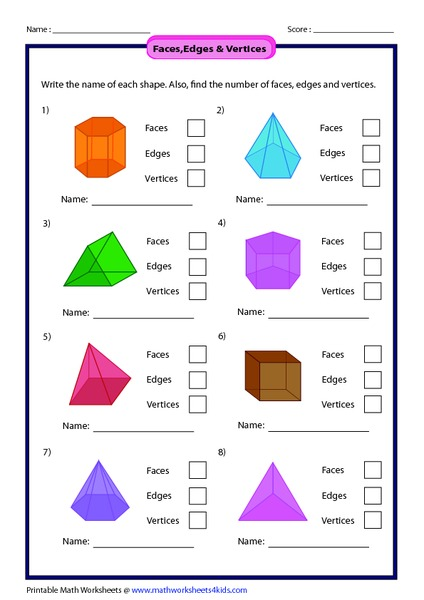Printables Faces Edges And Vertices Worksheet faces edges vertices 1st 2nd grade worksheet lesson planet