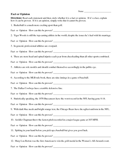 Fact And Opinion Worksheets For 2nd Graders - The Best and Most ...
