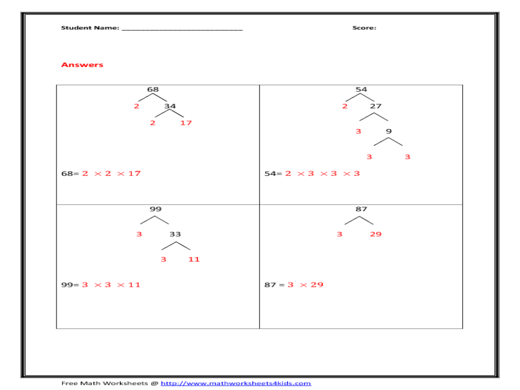 Factor trees worksheets grade 8
