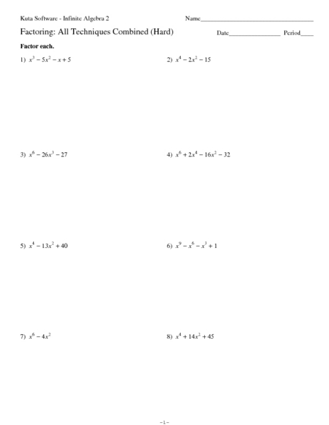 Factoring: All Techniques Combined (Hard) 11th Grade Worksheet ...