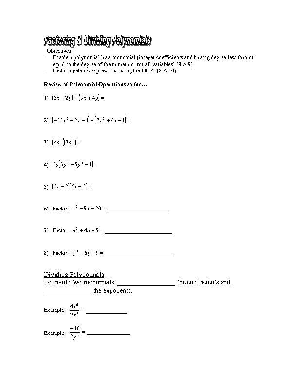 Worksheet Division Of Polynomials Worksheet factoring dividing polynomials 8th 10th grade worksheet lesson planet