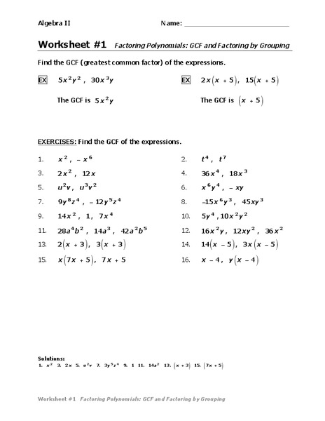 Factoring polynomials completely worksheet